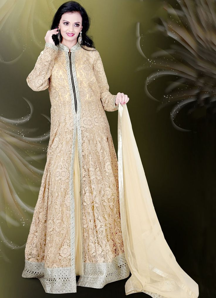 Buy Wonderous Beige Embroidered Work Readymade Gown #glamor #fashion #fashionista