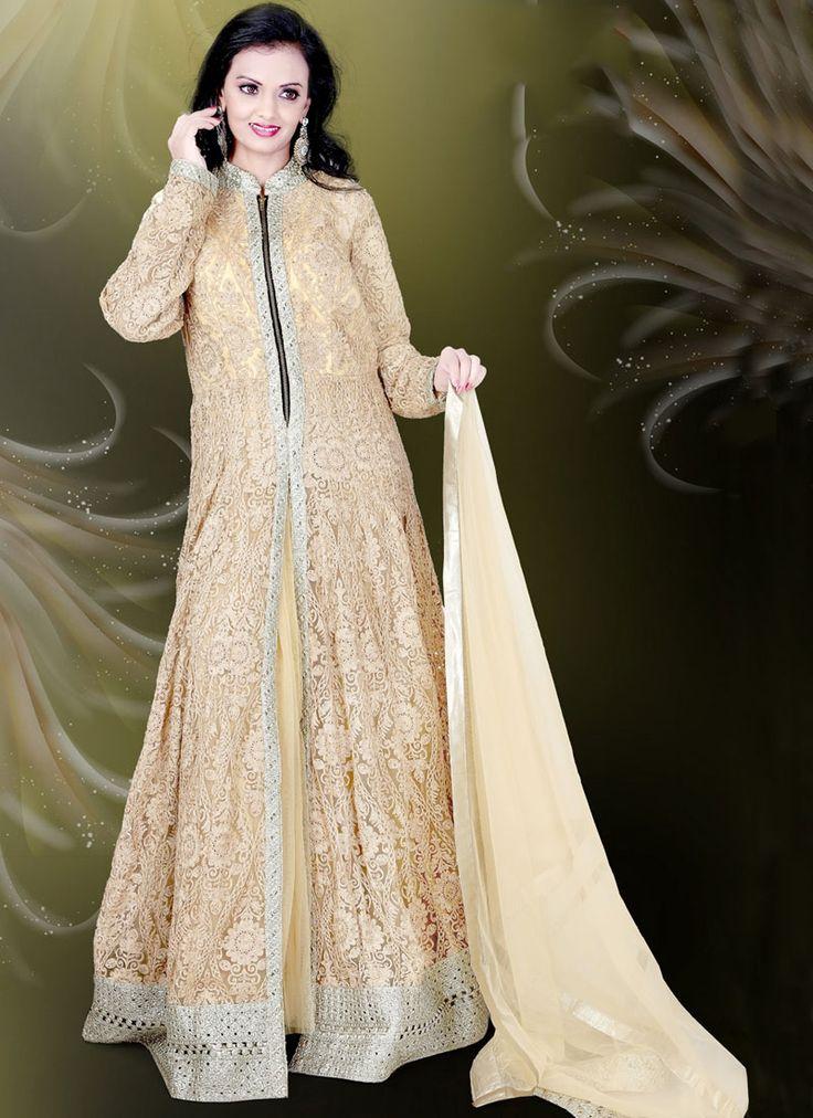 Buy Wonderous Beige Embroidered Work Readymade Gown #glamor #fashion #fashionista