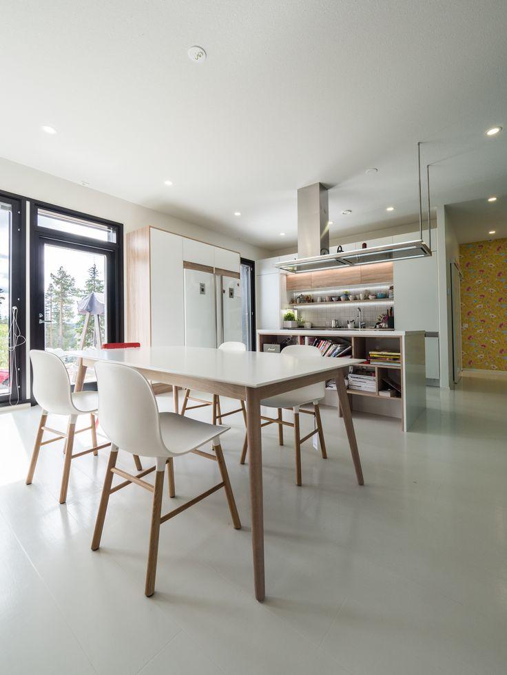 Modern kitchen with Nordic design  and lots of wide space. Winled's LEDs light up every corner of this kitchen. Tässä modernissa keittiössä on paljon tilaa ja siinä huomattavissa on pohjoismaista designia. Winledin LED-valaisimet valaisevat keittiön joka nurkan.