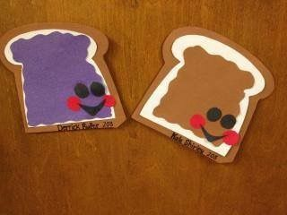 Peanut Butter & Jelly Door dec - Googly eyes to minimize cutting, draw on mouths