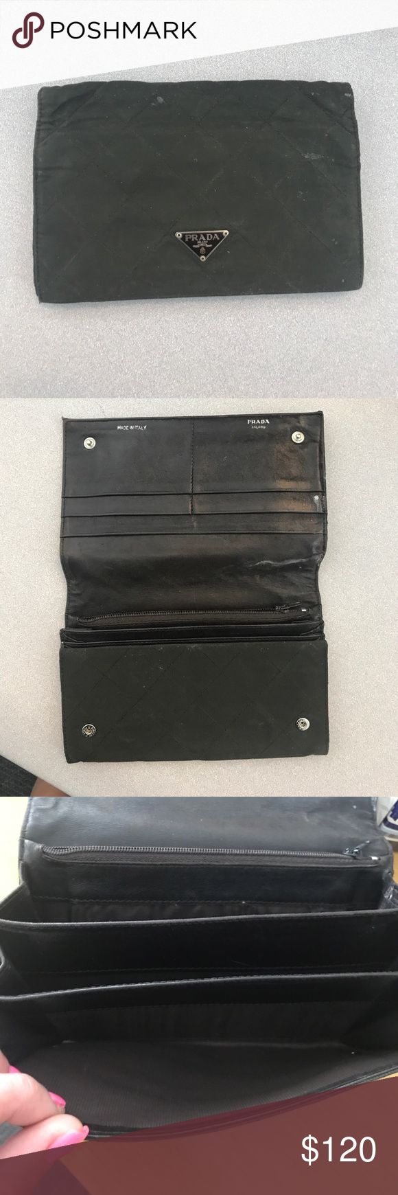 Vintage nylon Prada flap wallet Authentic, Worn in vintage Prada flap wallet. This wallet has been used but is still in good condition. Soft leather inside with 6 card slot pockets on the top side of the wallet flap. Bill pocket and zip coin pocket on the bottom side of the wallet. The exterior of this wallet is a durable nylon with original Prada logo on the front. Interior is leather. Do not let the age of this wallet deter you, it is a timeless piece! Prada Bags Wallets