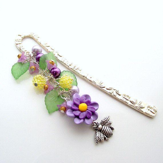 beaded bookmark metal bookmark bee bookmark by jinjajewellery, £7.00