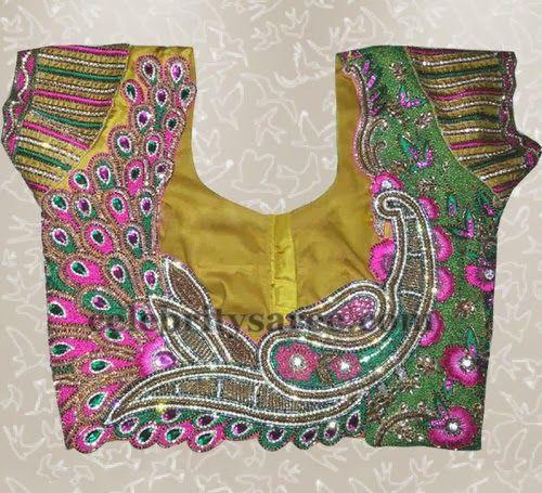 Peacock Floral Blouse with Zardosi Work | Saree Blouse Patterns