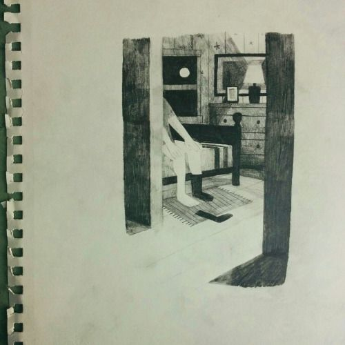 """jon klassen - interior illustration from """"The Nest"""" by Kenneth Oppel coming out this fall"""