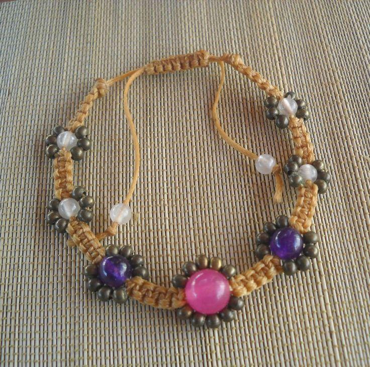 Gemstone,Brass Beaded Wax String Bracelet,Handmade