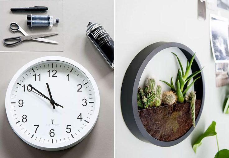 Planter står sterkt i interiøret for tiden og egner seg fint på veggene også. Lag en stilig plantekasse av en enkel klokke!