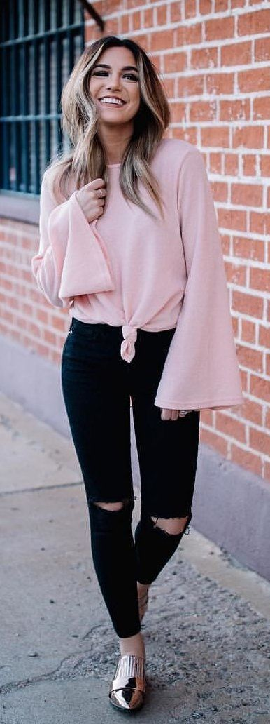 #winter #outfits  pink crew-neck batwing-sleeved shirt, black distressed jeans and silver shoes outfit