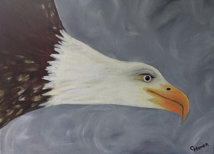 Bald headed eagle in flight like one that tried to eat Nanny my dog.  Painting by Cindy