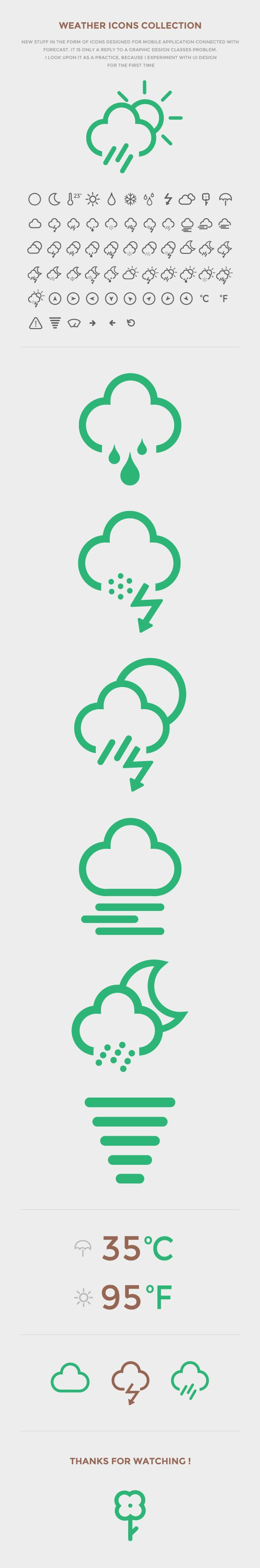 Weather Icon Set 2013 by Tomczyk Maciej, via Behance