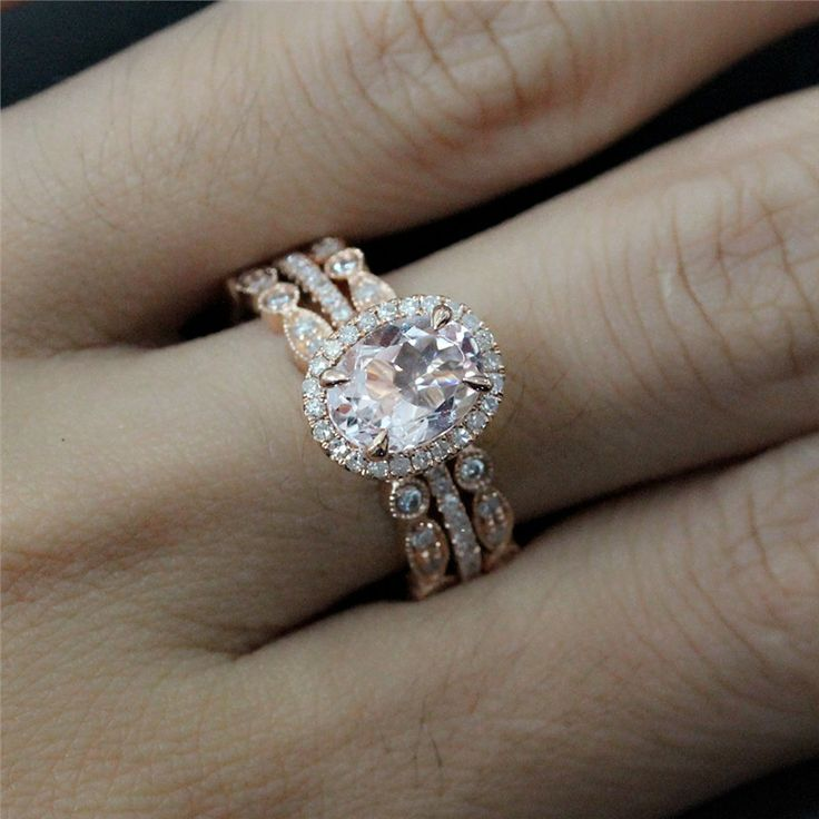Bridal Ring Set of 8x6mm Morganite Oval Engagement Ring and 2 Diamonds Bezel Half Eternity Ring - Vogue Gem