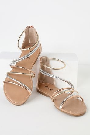c89d893483b1 All Roads Lead to Rome Grey and Silver Gladiator Sandals in 2019 ...