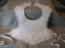 настоящий винтаж белый хлопок викторианского крещение ребенка нагрудник для плетения кружева и вышивка