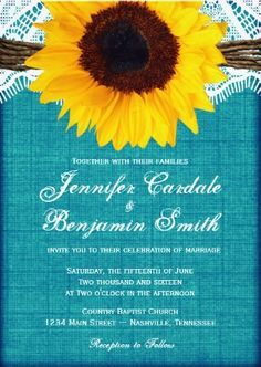 Teal Sunflower Rustic Country Wedding Invitations.  Two Sided Aqua Turquoise Distressed Background.  40% OFF when you order 100+ Invites. #wedding #sunflowers