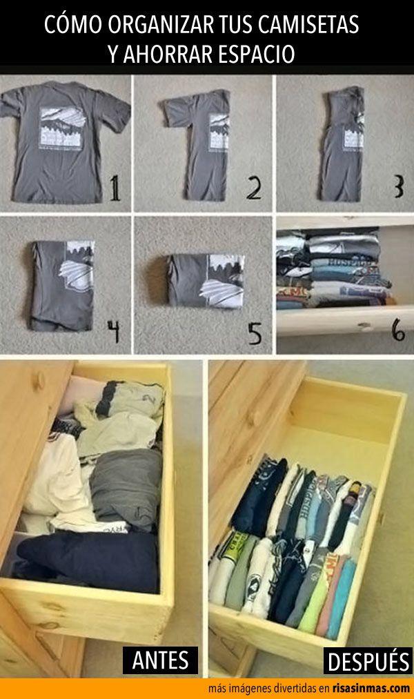 Cómo organizar tus camisetas y ahorrar espacio.