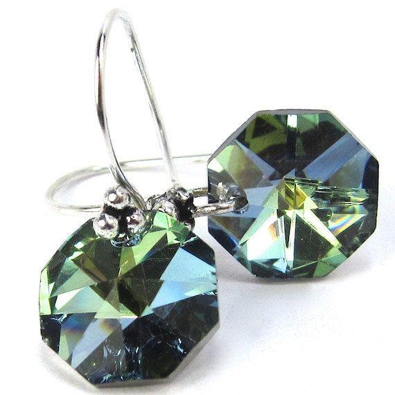 Green Sahara Sparkly Vintage Strass Octagon Swarovski Crystal