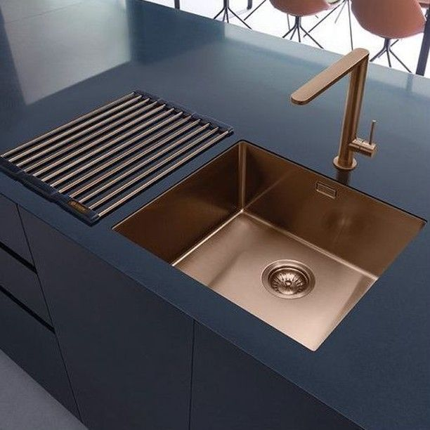 Navy Counter And Copper Plumbing From Caple Yes Please Copper Kitchendesign Modern Kitchen Inspiration Design Modern Copper Kitchen Copper Kitchen Sink