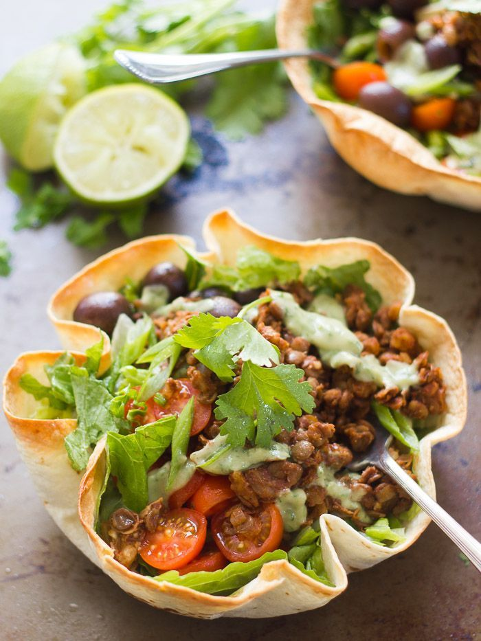 Lentil Walnut Vegan Taco Salad in a Crispy Tortilla Bowl