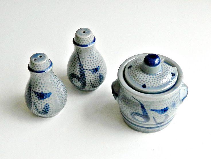 Vintage Asian Condiment Set, Salt Pepper & Sugar Bowl, Blue and Grey Ceramic, Vintage Mustard Pot, Vintage Jam Pot, Asian Serving Set. by retrogroovie on Etsy