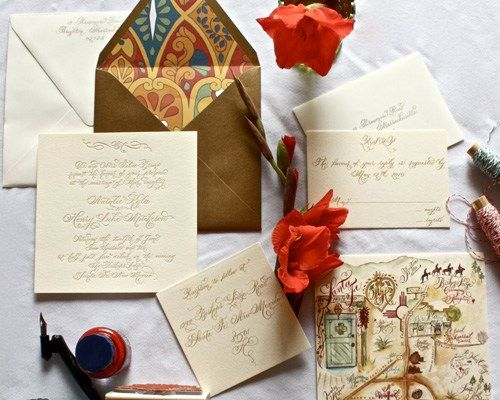 Danae Calligraphy Southwest Wedding Invitations
