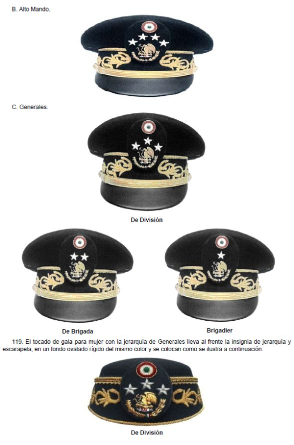 Mexican Army generals' dress uniform caps.