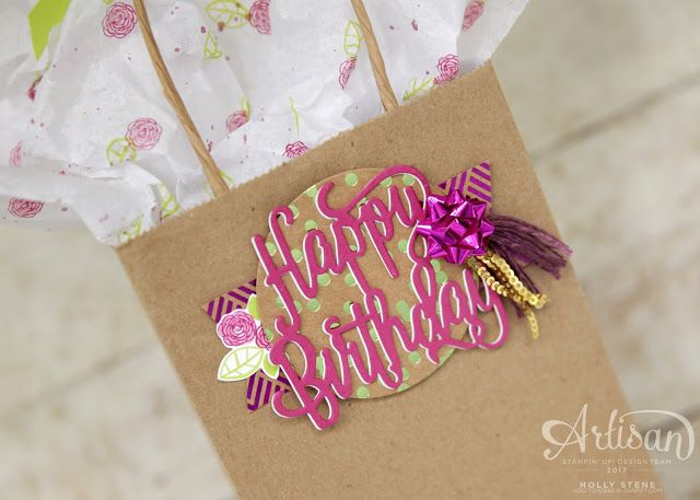 Holly's Hobbies: Give your gift bag extra detail with these beautiful products from @Stampinup - Happy Birthday Gorgeous stamp set and coordinating Happy Birthday Thinlits Die.
