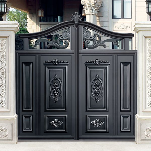 Wonderful Simple Design Black Villa Outside Gate, Flowers Carving Security Aluminum  Door