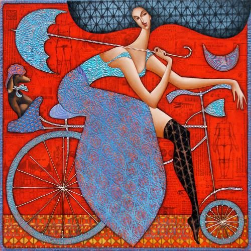 Wlad Safronow - From his Secession series of Paintings: title is 'Woman on Bicycle' -  size: 90x90 ✿≻⊰❤⊱≺✿