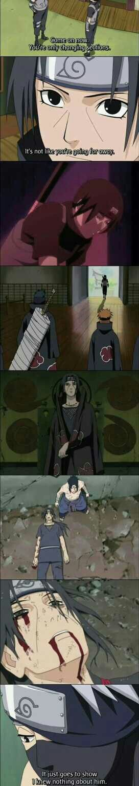 It goes to show I knew nothing about him, sad, quote, Kakashi, Itachi, Anbu, different ages, time lapse, timeline, comic, text, Sasuke, Kisame, Pain, Akatsuki, death; Naruto