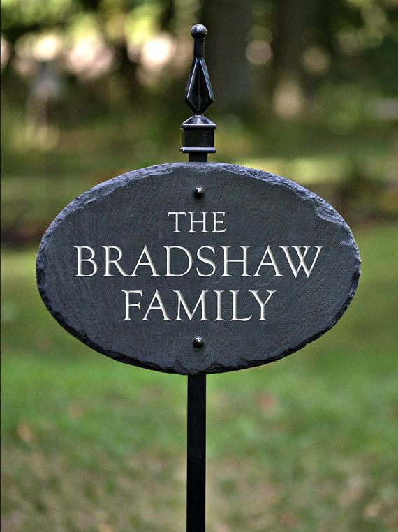 HOUSE NAME PLAQUE / Lawn Stake / Carved Slate/ Stone Marker /Sign / Cottage on Etsy, $75.00 TMichael Studio