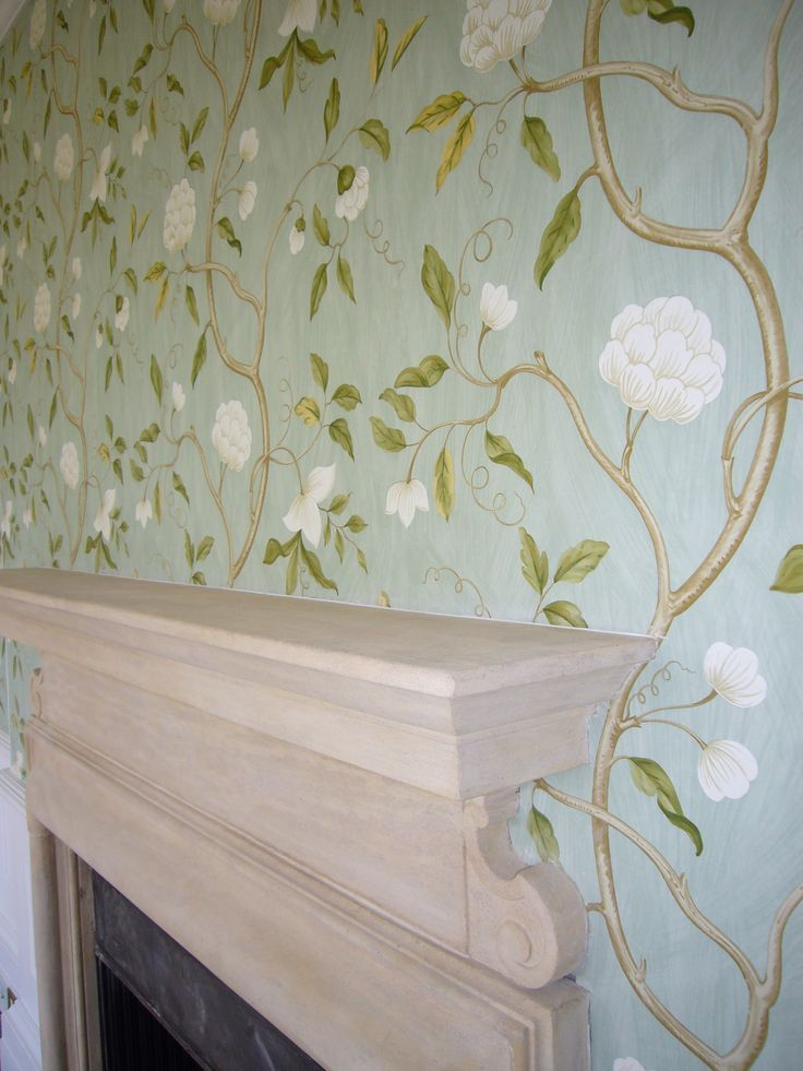 Beautiful snow tree wallpaper by Colefax and Fowler fashioned after a hand-painted wall at Drottningholm Palace, Sweden.