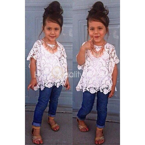 3Pcs Hollow Out Round Collar Top + Jeans + Vest Set for Girls - $18.27