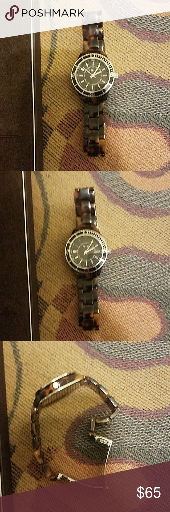 Fossil Tortoise shell watch This watch is in great condition. All the links are there, and has a new battery.  No cracks or scratches.  Make excellent gift. ☕🍷 Fossil Accessories Watches