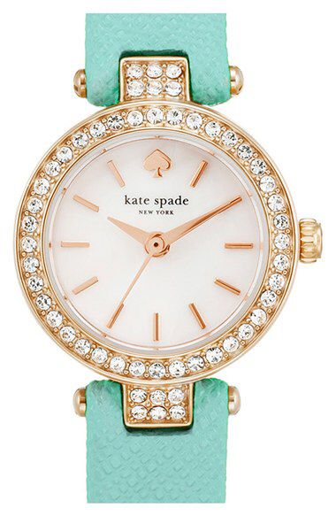 kate spade new york kate spade new york 'tiny metro' crystal bezel leather strap watch, 20mm available at #Nordstrom