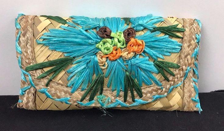 Vintage Woven Straw Market Tote Bag Purse Embellished Flowers Clutch #Unbranded #TotesShoppers