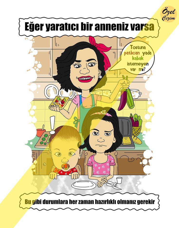 Anneler günü hediyesi karikatürü :)  #ozelcizim #ozel #cizim #karikatur #hediye #hediyekarikatur #anne #annelergunu #annem #sanat #cocuk #aile #yemek #asci #alternatif #farkli
