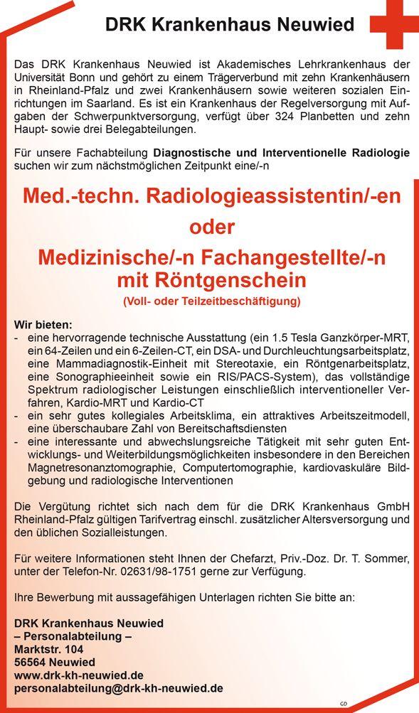 Med.-techn. Radiologieassistentin/-en oder - MTRA Medizinische/-n Fachangestellte/-n mit Röntgenschein Vollzeit oder Teilzeit