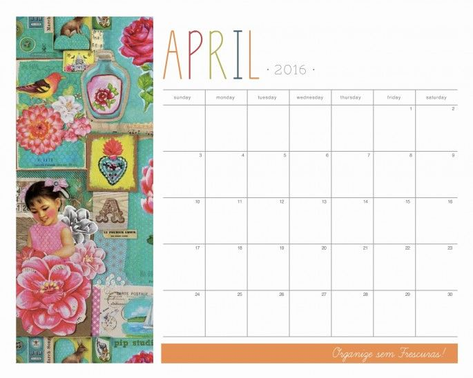 thème Calendário 2016 Para Imprimir sur Pinterest   Calendario 2016 ...