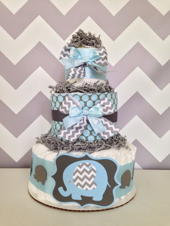 chevron elephant diaper cake blue and gray baby shower centerpiece on etsy