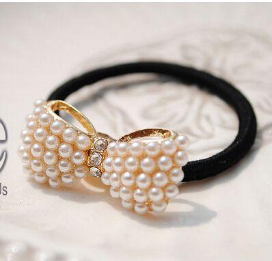 1 X Women Crystal Rhinestone Pearl Hairband Rope Elastic Ponytail Holder Bowknot Hair Band Accessories C338