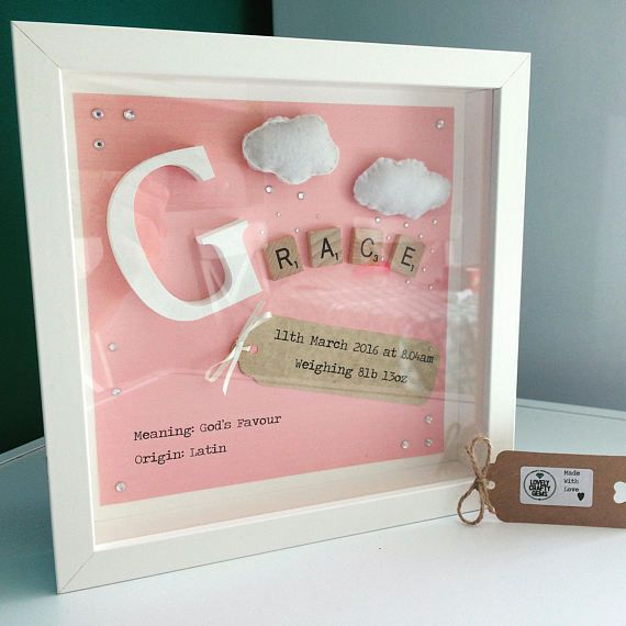 Nursery Decoration Girl Name Frame New Baby Gift Felt Art