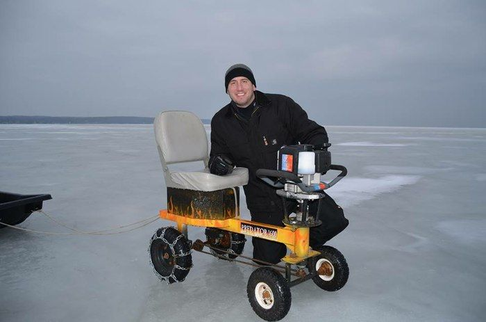 Ice-fishing go-kart borrows the motor of its user's ice auger