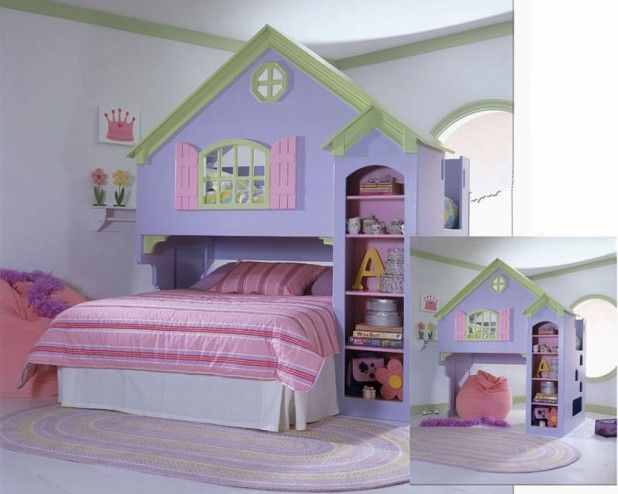 Kids Room. Cool Kid Beds Decorating Ideas For Girls And Boys. Girls Bunk Beds For Sale Pictures Bunk Beds With Desk For Girls And House Bed Design Ideas Painting And White Mattress Along With Pink Blanket Painting Also Pink Pillows Painting And White Fury Rug As Well As White Wall