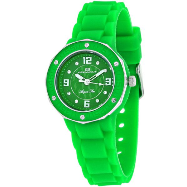 Women's Oceanaut Women's Acqua Star (145 CAD) ❤ liked on Polyvore featuring jewelry, watches, green, jewelry & watches, women's watches, silicone jewelry, silicone watches, silicon watches, green jewelry and green watches