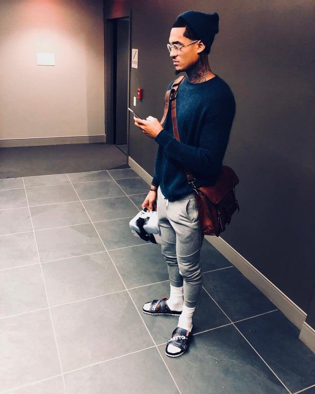 c5b369e67942bb Jordan Clarkson wears Louis Vuitton Sandals and John Elliott Sweatpants