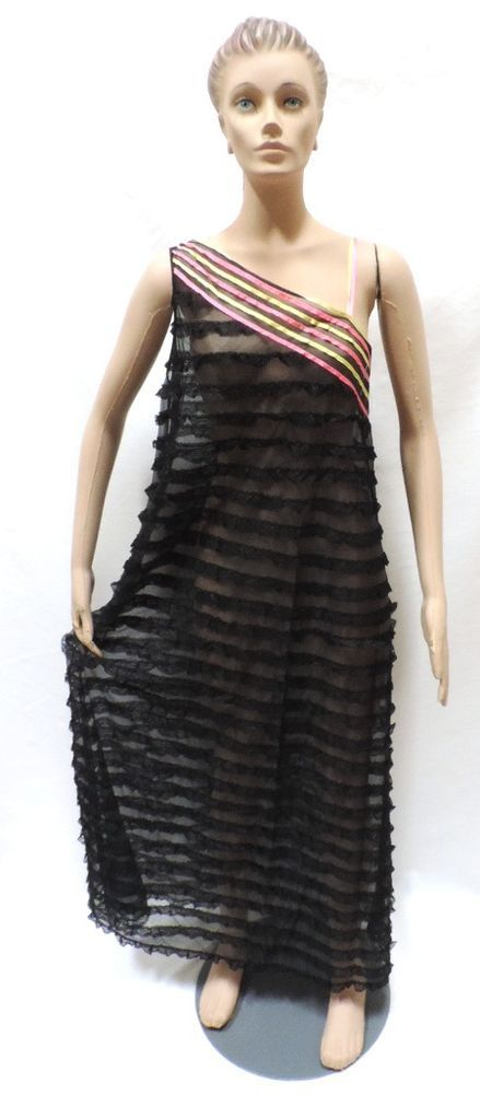 Vtg Lingerie M Chevette Nightgown Sari Shoulder Ruffles Black Nylon 60s Dress  #Chevette #Gowns