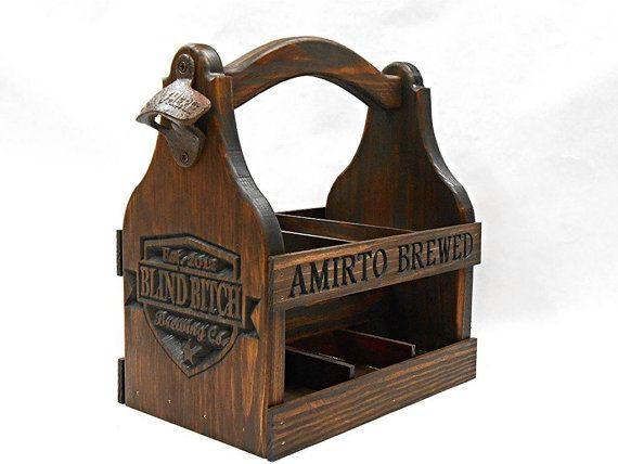 Wooden Beer Tote  Personalized  Beer Carrier  Home by MVwoodworks