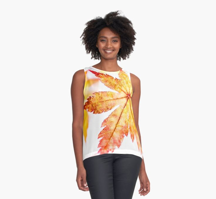"""""""Stained Glass"""" contrast #tanktop by Caitlyn Grasso #leaf #ladiesfashion"""