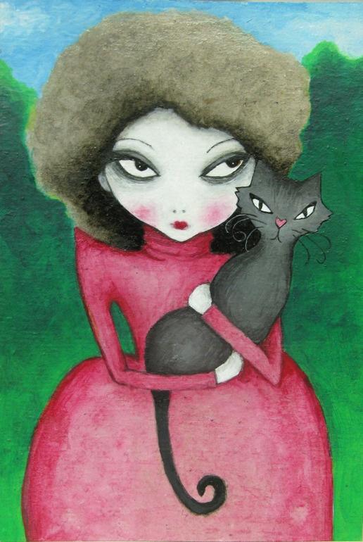 "Marc Savior Sara Shirley; Acrylic, 2010, Painting ""Girl with cat"""