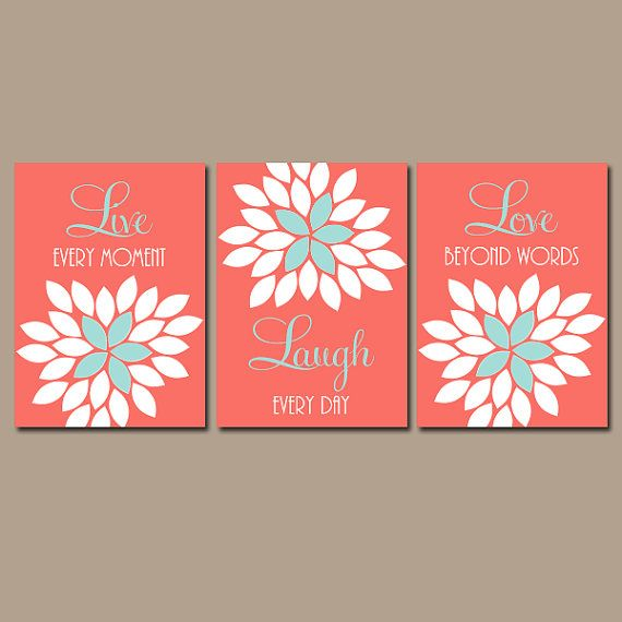 Live laugh love coral wall art coral nursery decor baby for Live laugh love wall art
