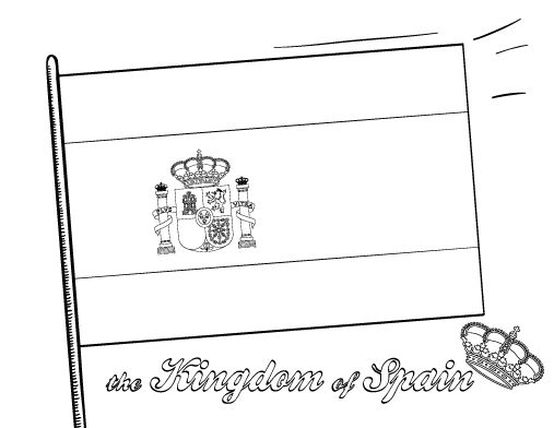 Printable Spanish flag coloring page. Free PDF download at http://coloringcafe.com/coloring-pages/spanish-flag/